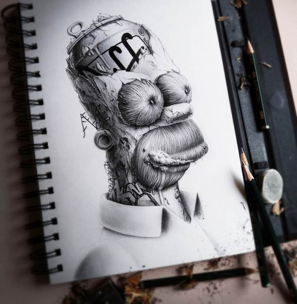 Homer Simpson par l'illustrateur PEZ