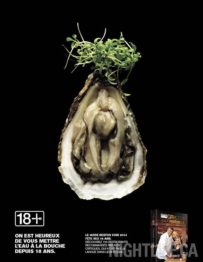 """La sitophilie a son paroxysme dans la nouvelle campagne publicitaire des """"Guide Restos Voir"""", guide culinaire canadien....."""
