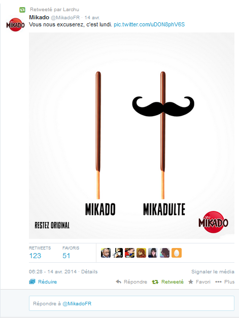 Le tweet original de Mikado France