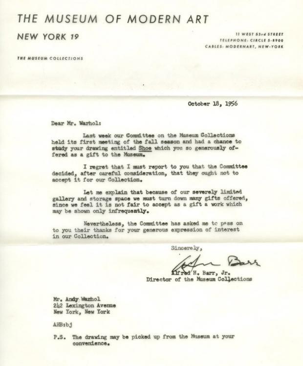 Andy Warhol - Lettre de rejet