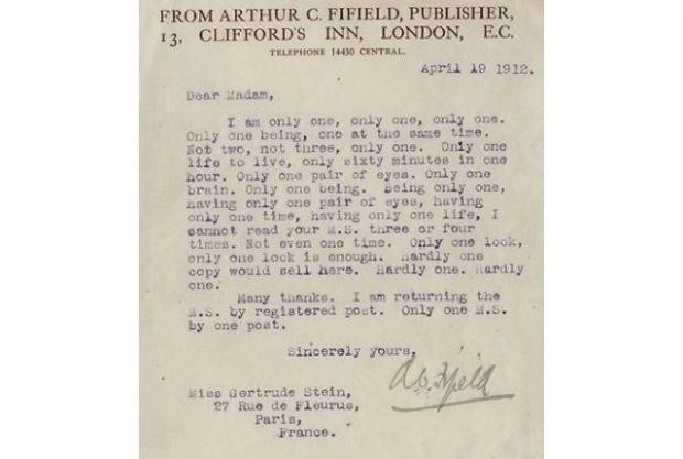 Gertrude Stein - Lettre de rejet