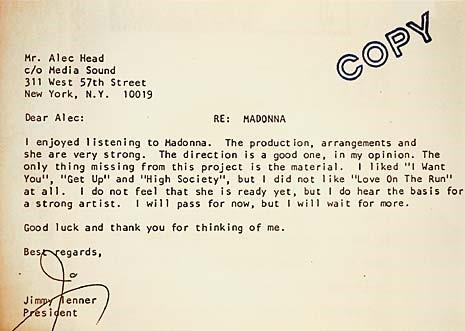 Madonna - Lettre de refus