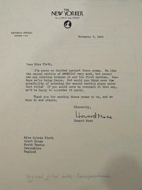 Sylvia Plath - Lettre de rejet