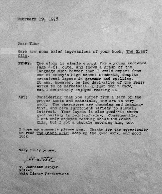 Tim Burton - Lettre de rejet