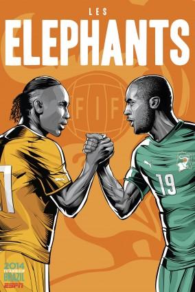 Yaya Touré et Didier Drogba pour la Cote d'Ivoire