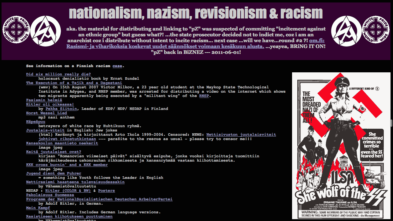 Nationalism, nazism, revisionisme & rascism du Dark Web