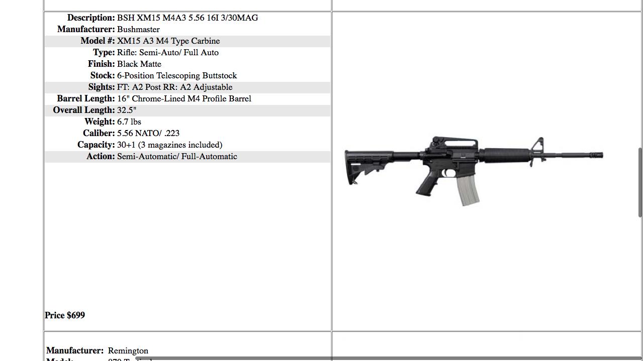 Arme de guerre en vente sur le Dark Web