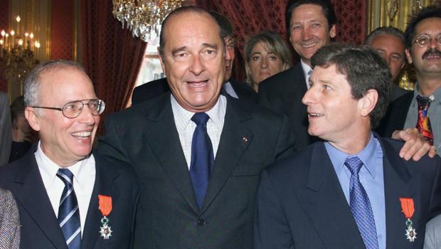 Thierry Roland, Jean-Michel Larqué et Jacques Chirac