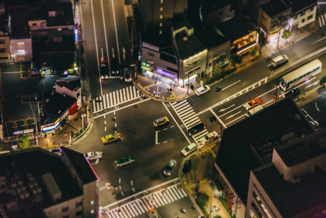 Intersection at night, Oshiage